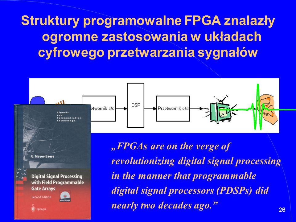 Struktury programowalne FPGA znalazły ogromne zastosowania w układach