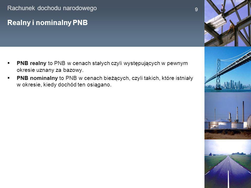 Realny i nominalny PNB PNB realny to PNB w cenach stałych czyli występujących w pewnym okresie uznany za bazowy.