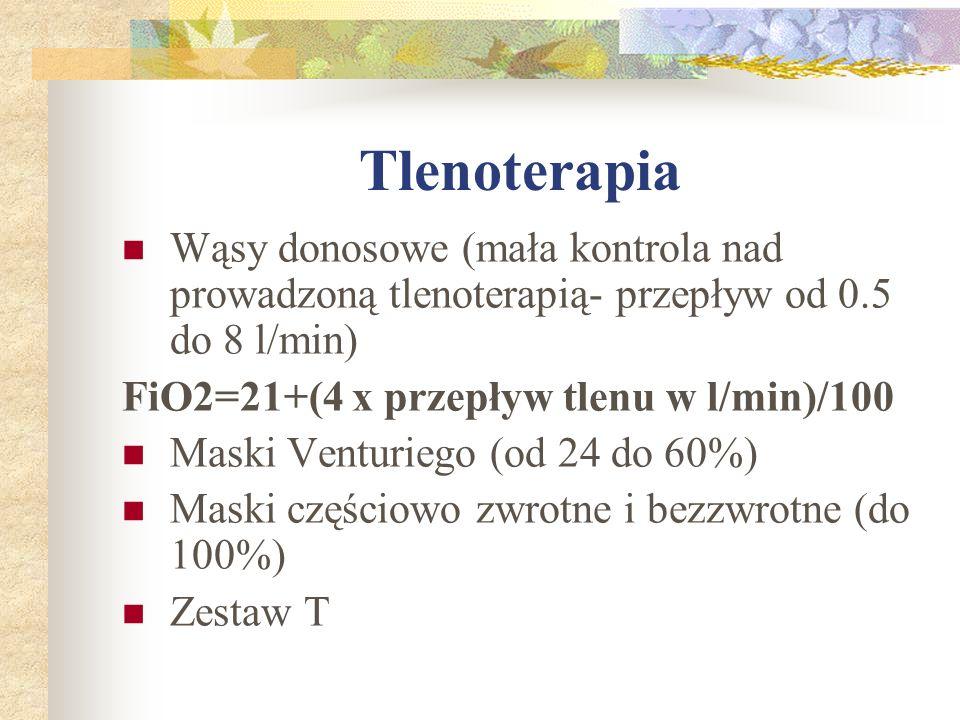 Tlenoterapia Wąsy donosowe (mała kontrola nad prowadzoną tlenoterapią- przepływ od 0.5 do 8 l/min) FiO2=21+(4 x przepływ tlenu w l/min)/100.