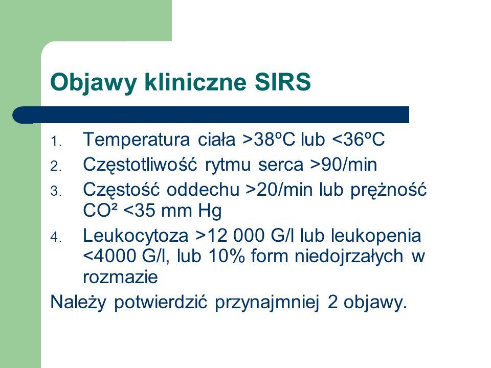 Objawy kliniczne SIRS Temperatura ciała >38ºC lub <36ºC