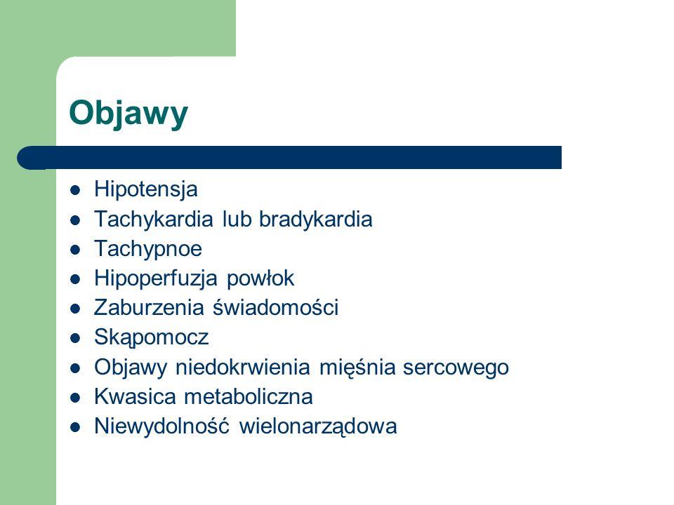Objawy Hipotensja Tachykardia lub bradykardia Tachypnoe