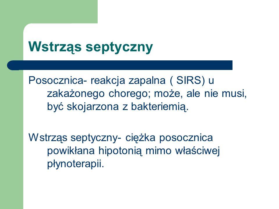 Wstrząs septyczny Posocznica- reakcja zapalna ( SIRS) u zakażonego chorego; może, ale nie musi, być skojarzona z bakteriemią.