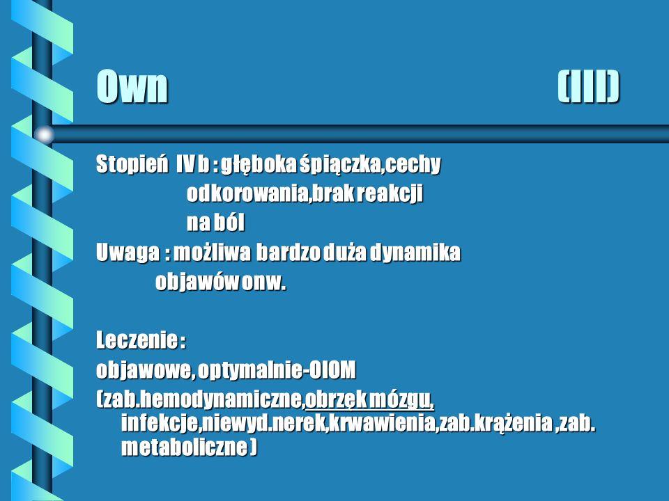 Own (III) Stopień IV b : głęboka śpiączka,cechy