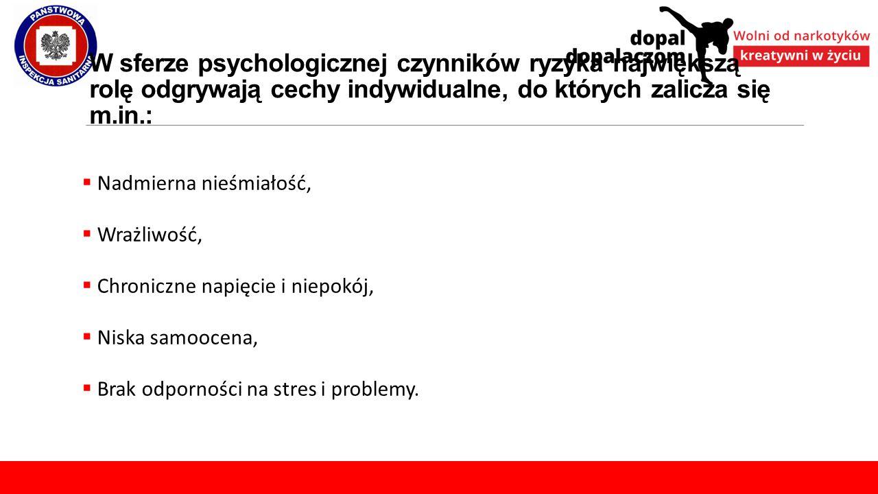 W sferze psychologicznej czynników ryzyka największą rolę odgrywają cechy indywidualne, do których zalicza się m.in.:
