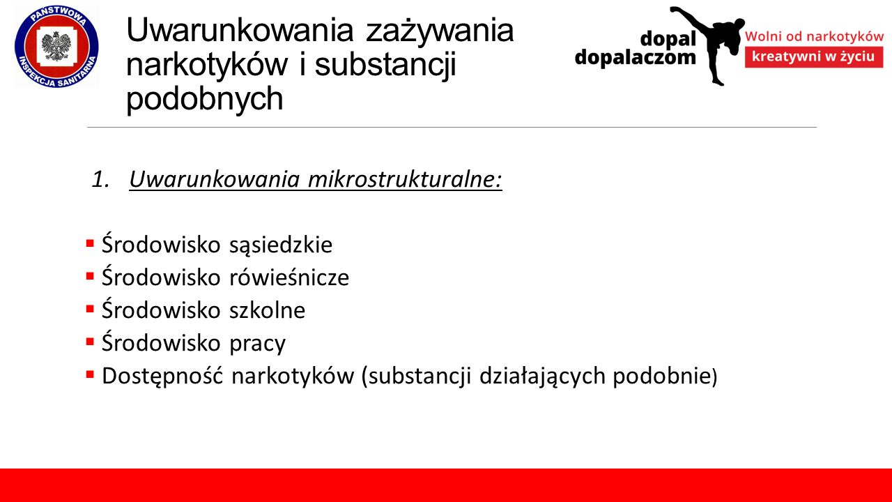 Uwarunkowania zażywania narkotyków i substancji podobnych