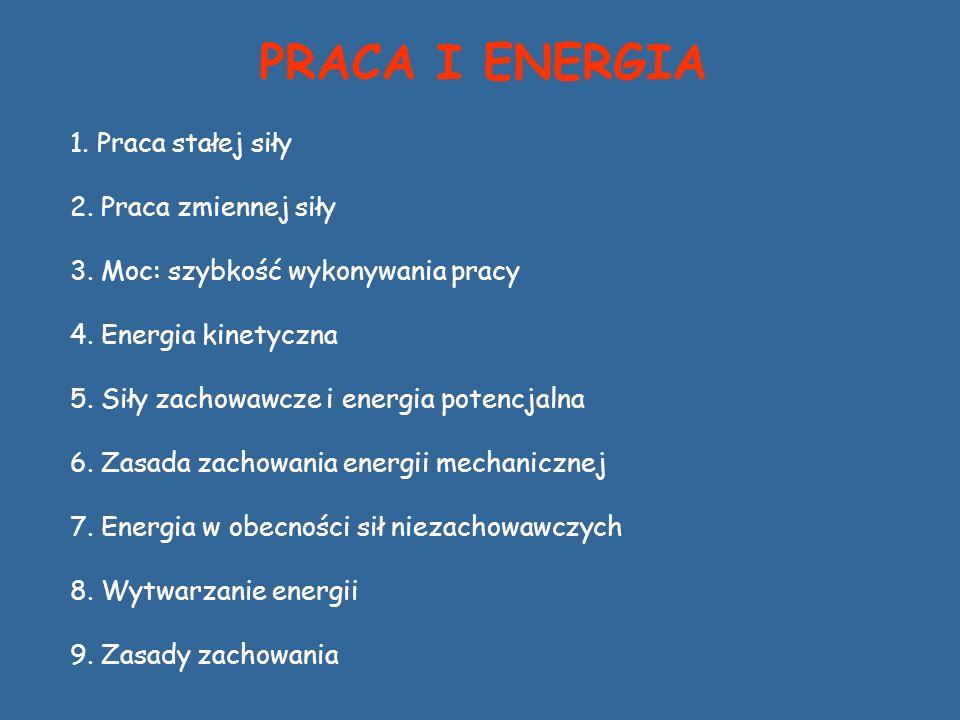 PRACA I ENERGIA 1. Praca stałej siły 2. Praca zmiennej siły