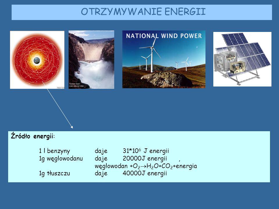 OTRZYMYWANIE ENERGII Źródło energii: 1 l benzyny daje 31*106 J energii
