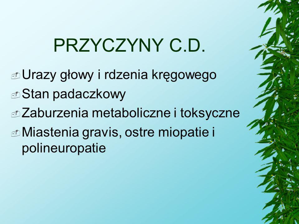 PRZYCZYNY C.D. Urazy głowy i rdzenia kręgowego Stan padaczkowy