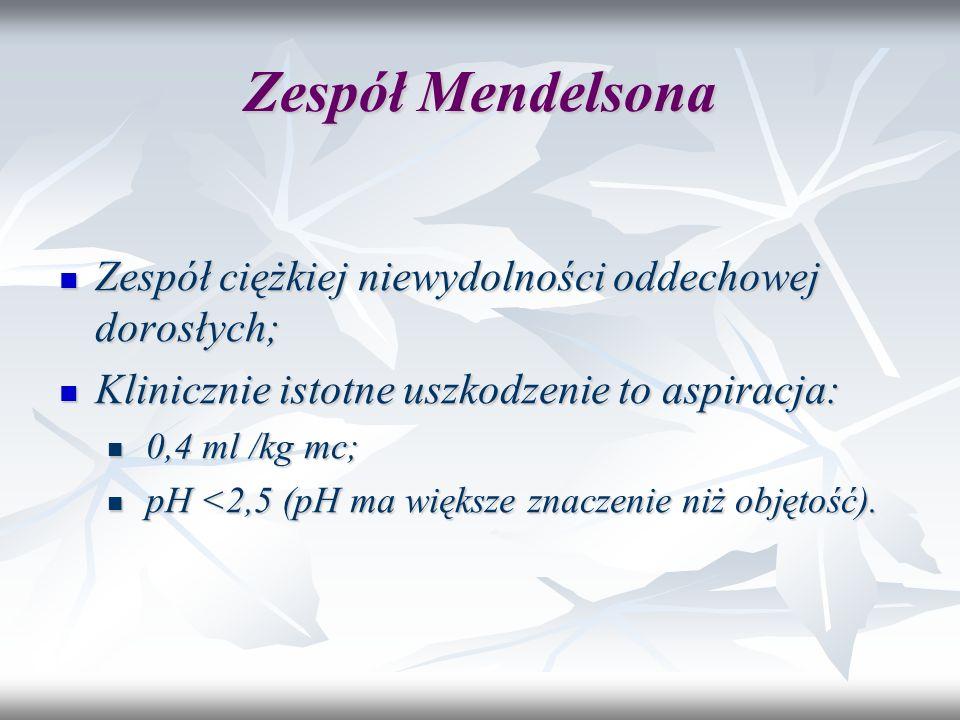 Zespół Mendelsona Zespół ciężkiej niewydolności oddechowej dorosłych;