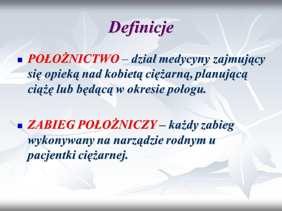 Definicje POŁOŻNICTWO – dział medycyny zajmujący się opieką nad kobietą ciężarną, planującą ciążę lub będącą w okresie połogu.