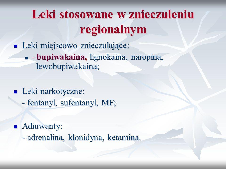 Leki stosowane w znieczuleniu regionalnym