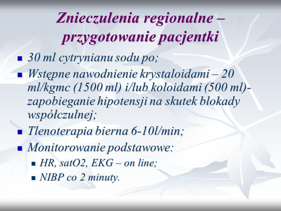Znieczulenia regionalne – przygotowanie pacjentki