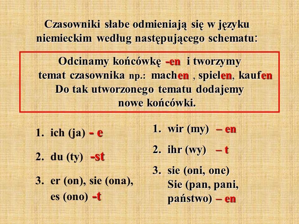 Czasowniki słabe odmieniają się w języku niemieckim według następującego schematu: