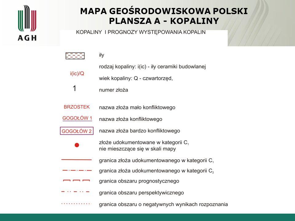 MAPA GEOŚRODOWISKOWA POLSKI PLANSZA A - KOPALINY