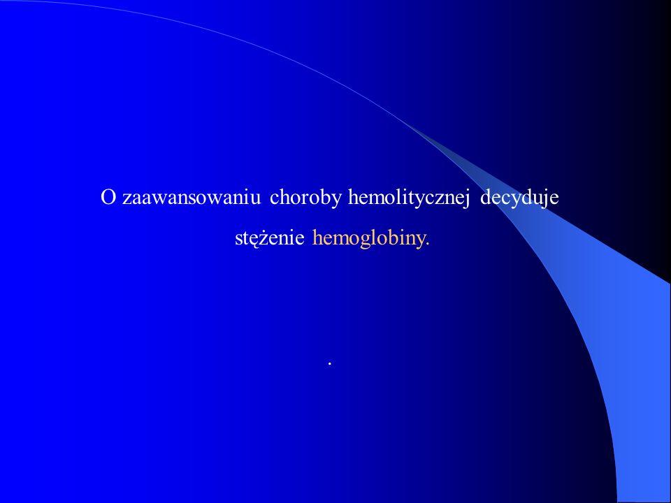 O zaawansowaniu choroby hemolitycznej decyduje