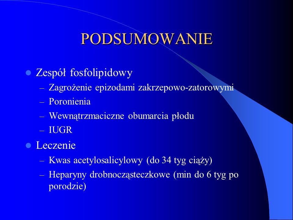 PODSUMOWANIE Zespół fosfolipidowy Leczenie