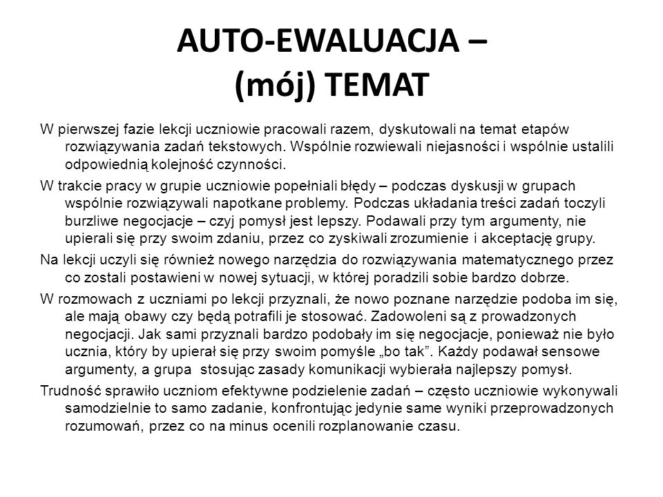 AUTO-EWALUACJA – (mój) TEMAT