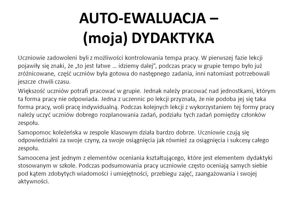 AUTO-EWALUACJA – (moja) DYDAKTYKA