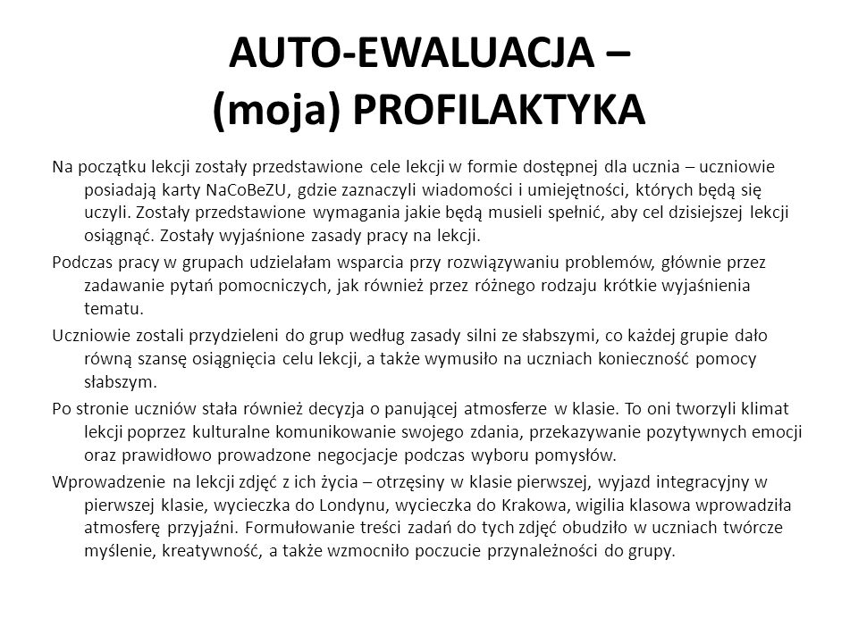 AUTO-EWALUACJA – (moja) PROFILAKTYKA