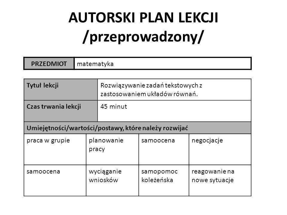 AUTORSKI PLAN LEKCJI /przeprowadzony/