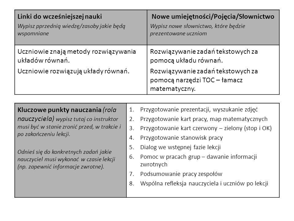Linki do wcześniejszej nauki Nowe umiejętności/Pojęcia/Słownictwo