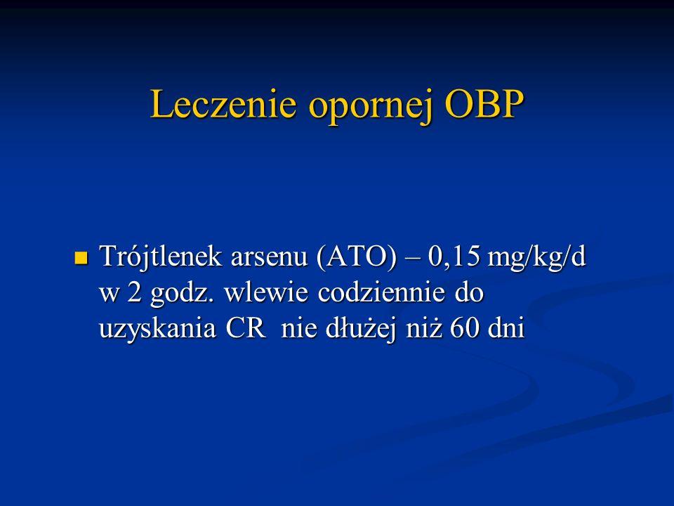 Leczenie opornej OBP Trójtlenek arsenu (ATO) – 0,15 mg/kg/d w 2 godz.