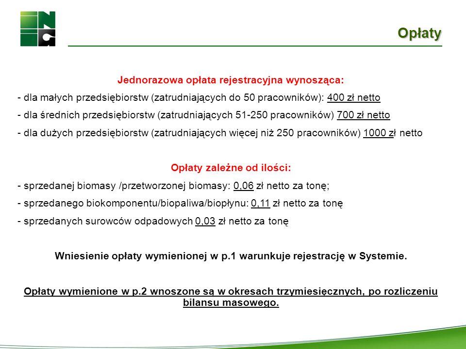 Opłaty Jednorazowa opłata rejestracyjna wynosząca: