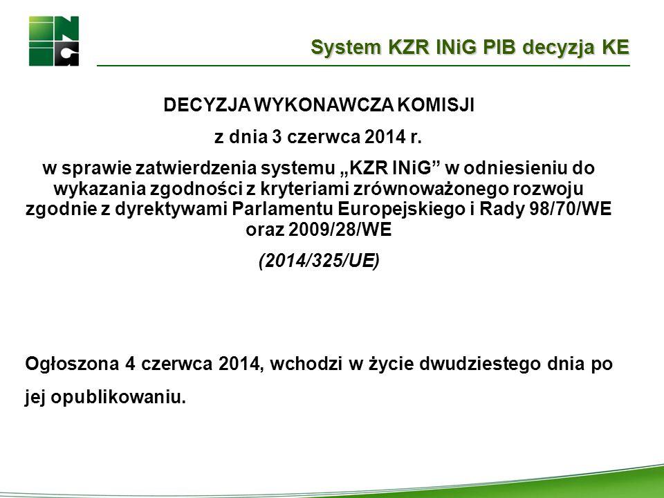 System KZR INiG PIB decyzja KE