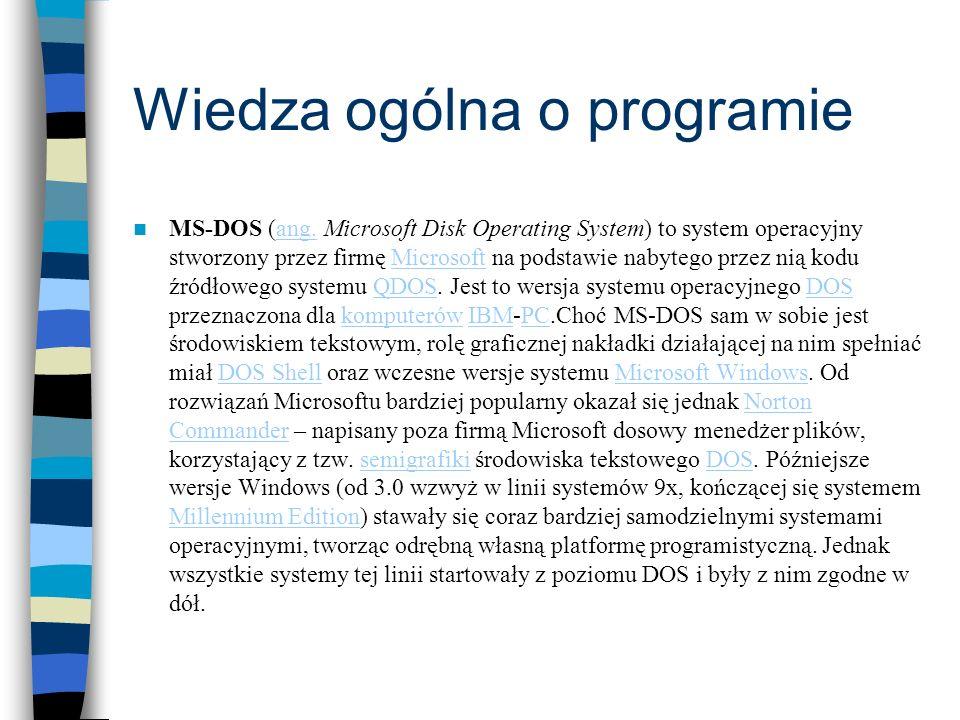Wiedza ogólna o programie