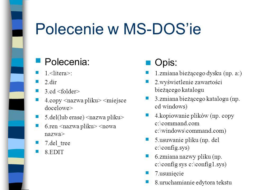 Polecenie w MS-DOS'ie Polecenia: Opis: 1.<litera>: 2.dir
