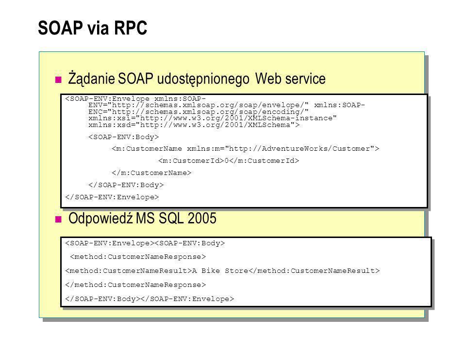 SOAP via RPC Żądanie SOAP udostępnionego Web service