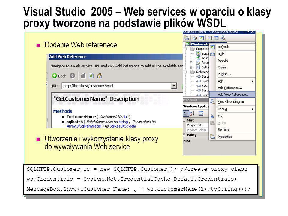 Visual Studio 2005 – Web services w oparciu o klasy proxy tworzone na podstawie plików WSDL