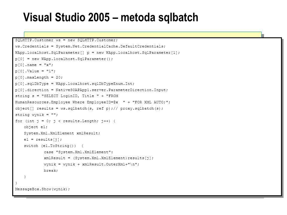 Visual Studio 2005 – metoda sqlbatch