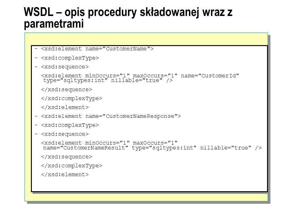 WSDL – opis procedury składowanej wraz z parametrami