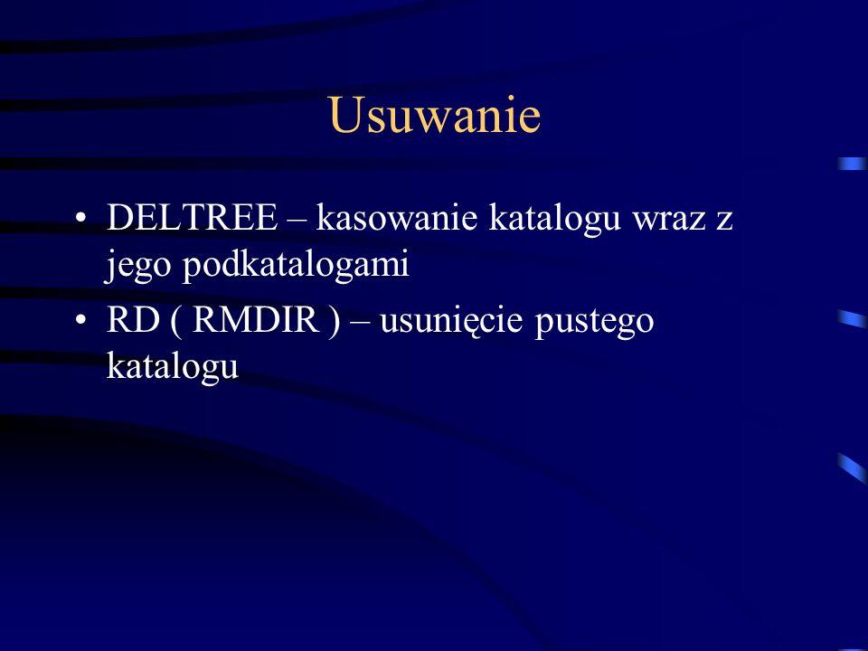 Usuwanie DELTREE – kasowanie katalogu wraz z jego podkatalogami