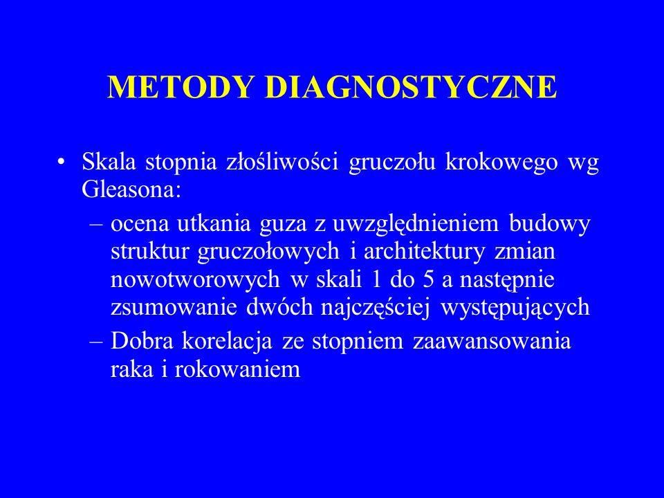 METODY DIAGNOSTYCZNE Skala stopnia złośliwości gruczołu krokowego wg Gleasona: