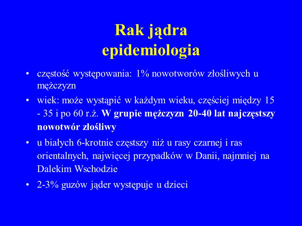 Rak jądra epidemiologia
