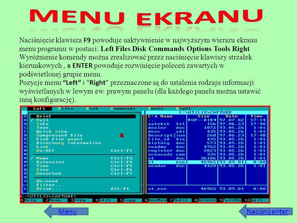 MENU ekranu