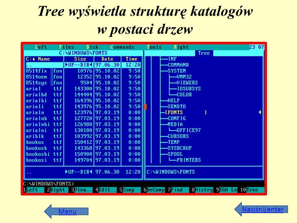 Tree wyświetla strukturę katalogów w postaci drzew