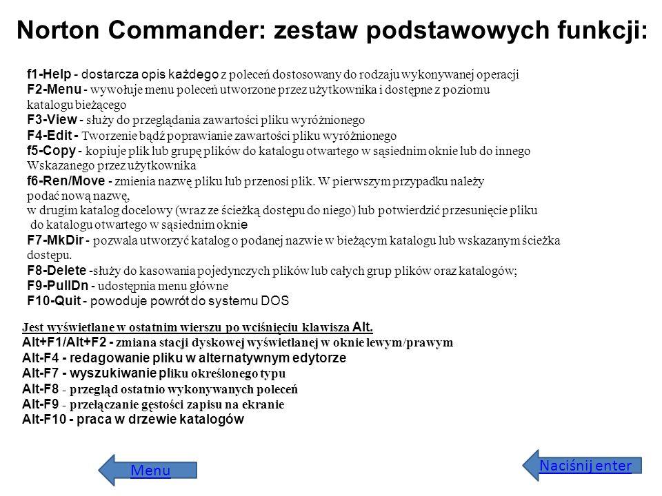 Norton Commander: zestaw podstawowych funkcji: