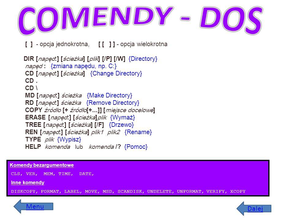 COMENDY - DOS Menu Dalej