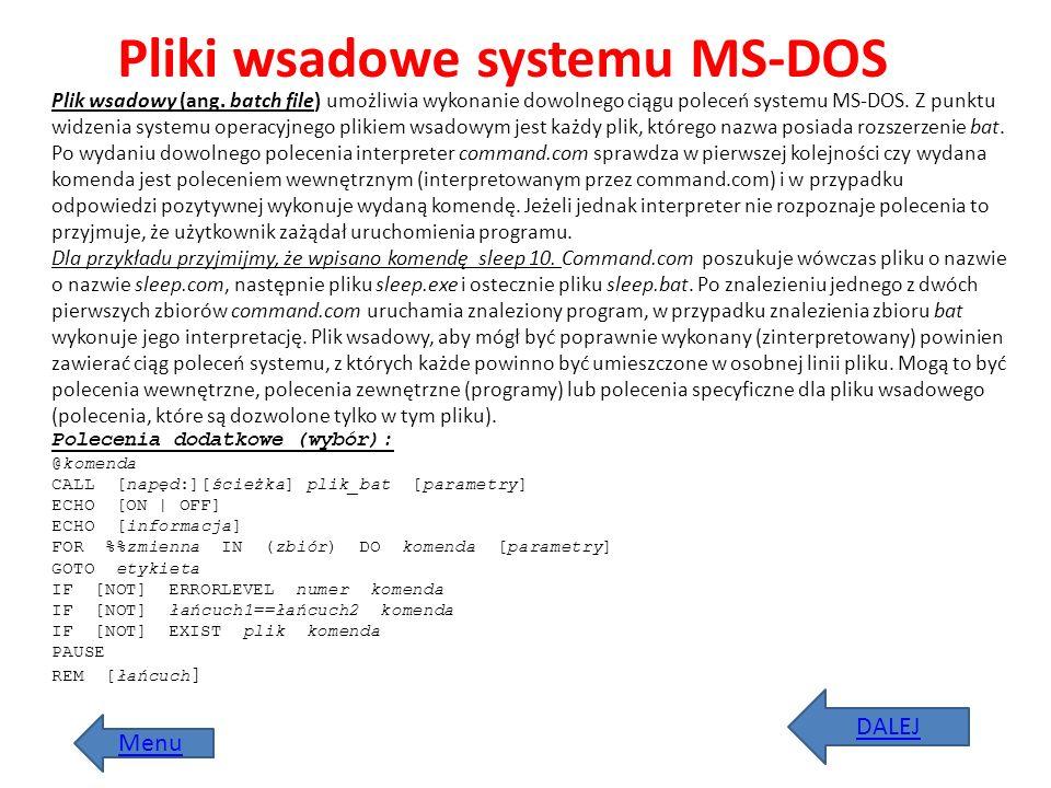 Pliki wsadowe systemu MS-DOS