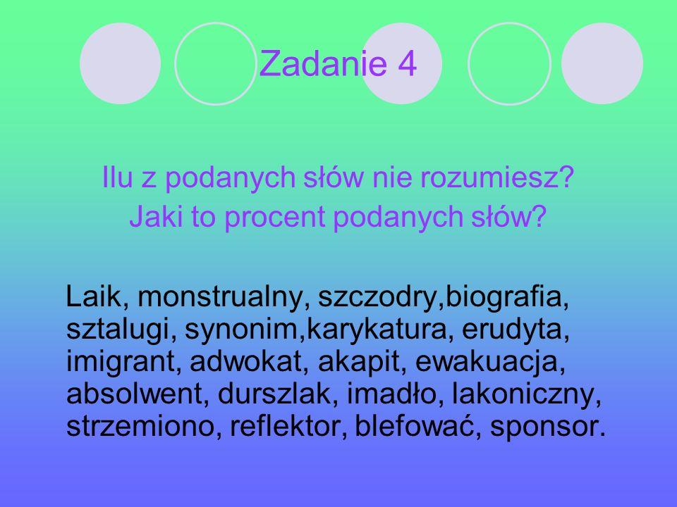Zadanie 4 Ilu z podanych słów nie rozumiesz