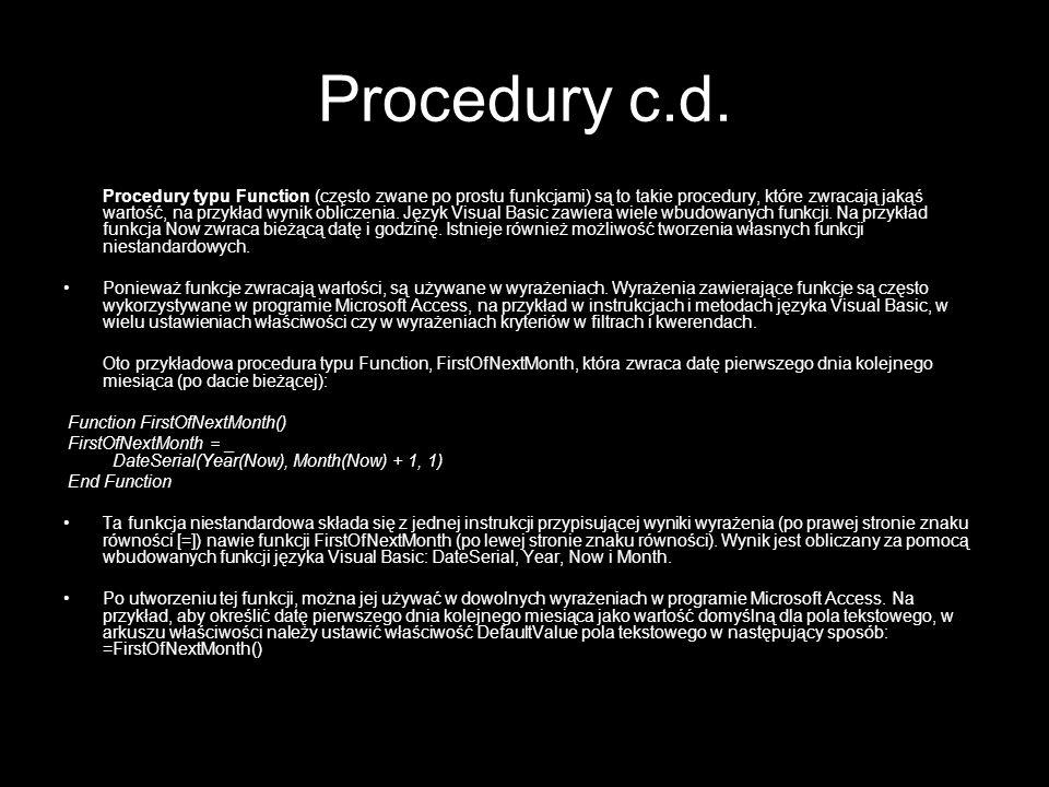 Procedury c.d.