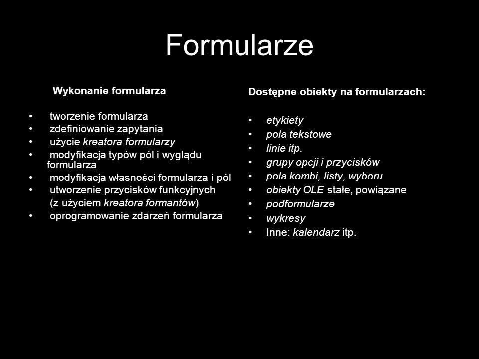 Formularze Wykonanie formularza tworzenie formularza