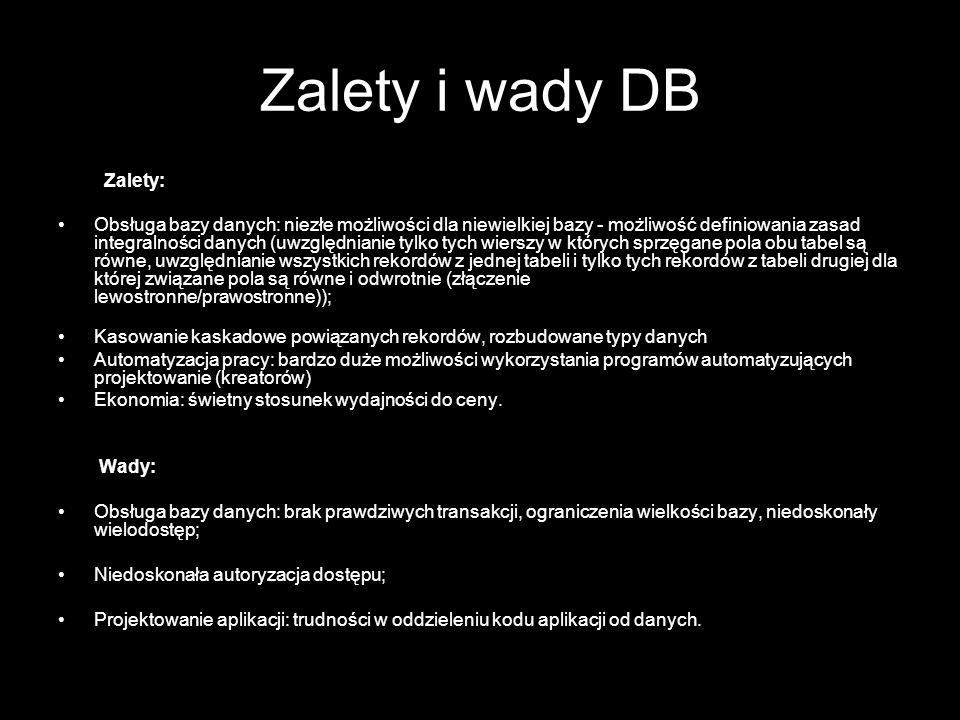 Zalety i wady DB Zalety: