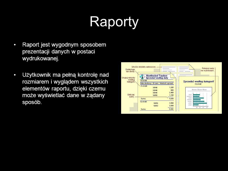 Raporty Raport jest wygodnym sposobem prezentacji danych w postaci wydrukowanej.