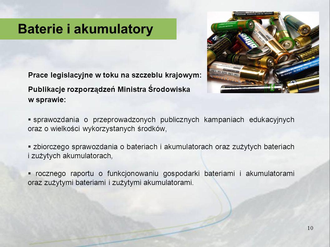 Baterie i akumulatory Prace legislacyjne w toku na szczeblu krajowym: