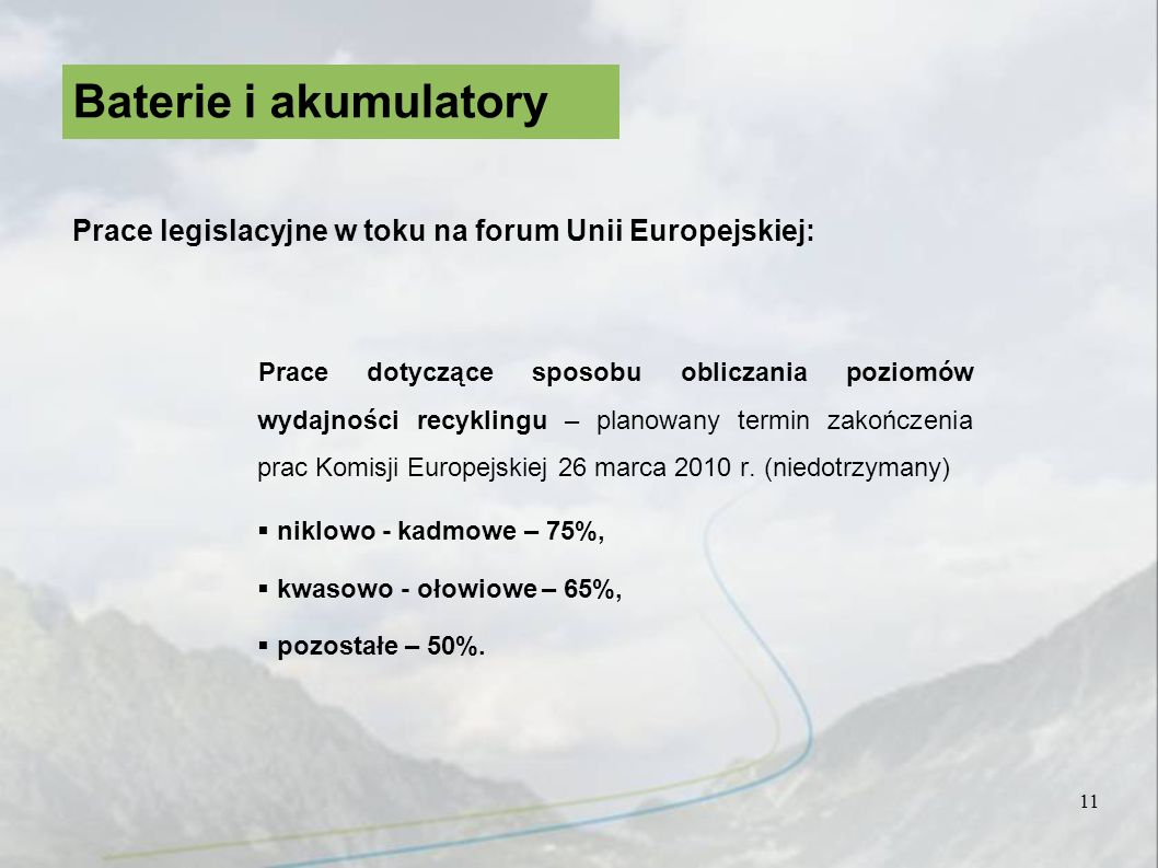 Baterie i akumulatory Prace legislacyjne w toku na forum Unii Europejskiej: