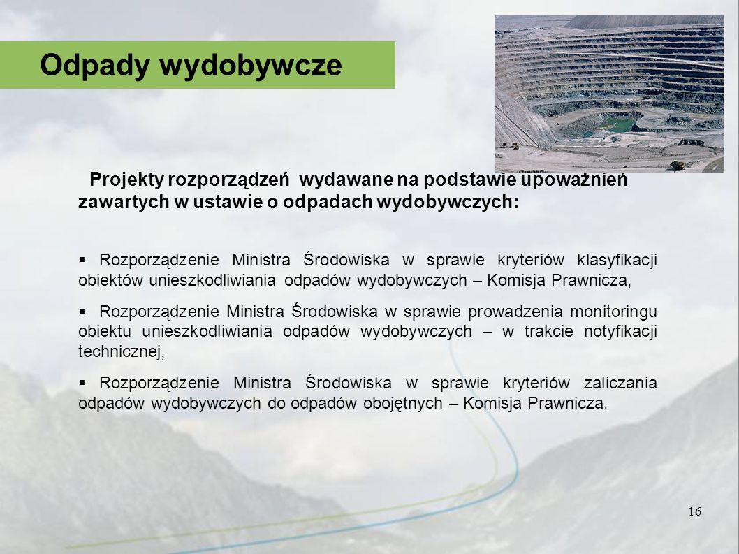 Odpady wydobywcze Projekty rozporządzeń wydawane na podstawie upoważnień zawartych w ustawie o odpadach wydobywczych: